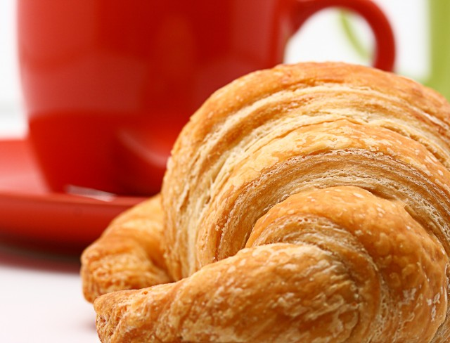 Cup Of Coffee And Croissant To Start A Glorious Morning